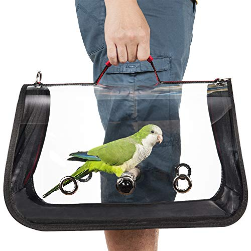 Colorday Lightweight Bird Carrier, Bird Travel cage Parrot (Medium 16 x 9 x 11, Red) ()