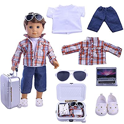 ZWSISU Boy Doll Clothes- Lot 7=1 Daily Travel Notebook Clothes Trunk Set+ 1 Shoes fit for American 18 inch Girl & Boy Dolls Logan Doll Outfits: Toys & Games