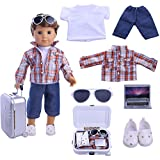 Boy Doll Clothes- Lot 7=1 Daily Travel Notebook Clothes Trunk set+ 1 Shoes fit for 18 inch American Girl & Boy Dolls Logan Doll Outfits