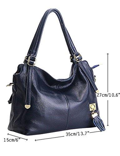 Menschwear Damen Echtes Leder Handtasche Elegant Taschen Schwarz Blau