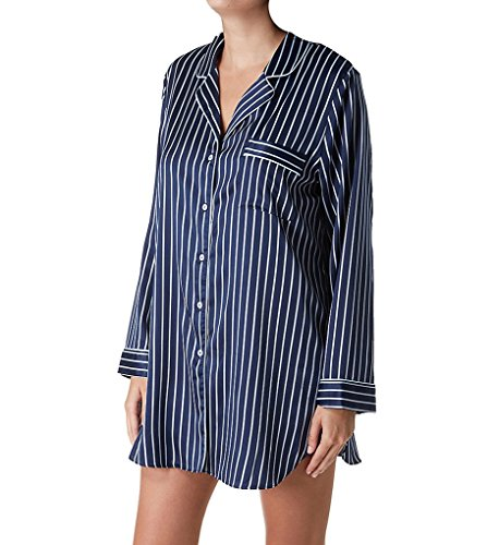 In Bloom by Jonquil Satin Stripe Sleepshirt (SOI160) M/Navy Stripe