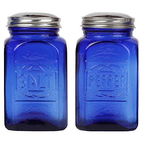 Trenton Gifts Depression Style Glass Salt & Pepper Shakers | Cobalt ()