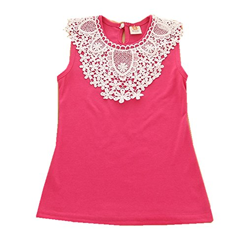 FTSUCQ Girls Sleeveless Lace Pricess Dresses,Red 100 (Cute 11 Year Old Guys)