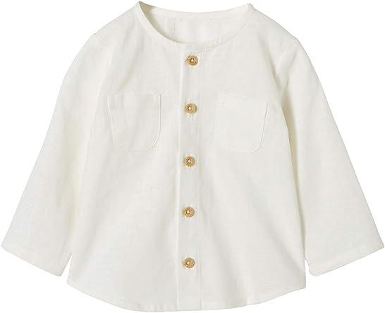 VERTBAUDET Camisa de Lino y algodón para bebé niño Beige Claro Liso 24M-86CM: Amazon.es: Ropa y accesorios