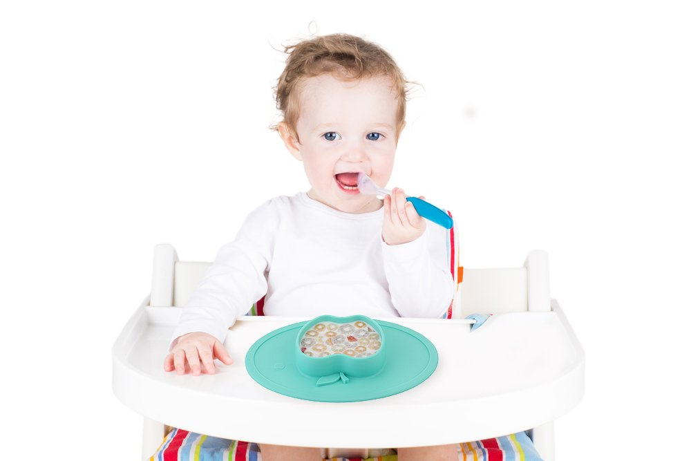 BPA-Free FDA Approved Strong Suction Plates for Toddlers Portable Baby Plate for Toddlers and Kids Qshare Toddler Plate Dishwasher and Microwave Safe Silicone Placemat 28 * 20 * 3cm