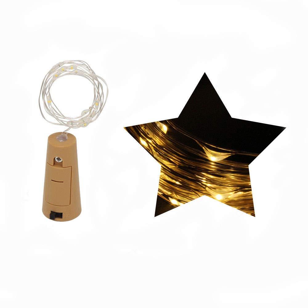 Lantern String,FTXJ 1M 10 LED Bottle Lights Cork Shape For Wine Bottle String Party Romantic (Yellow, 1M)