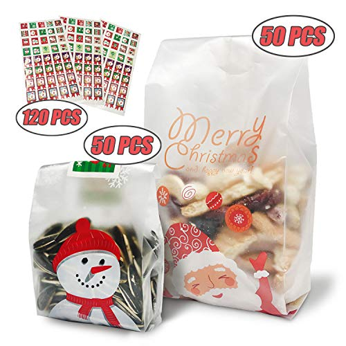 Christmas Cookie Bags Snack Bags Plastic Cookies Bakery Candy Treat Bags for Gift Giving Wrapping Packaging Bags Toaster Bags Santa Claus Snowman Snowflake 100 Pack Cookie Sealing Stickers -