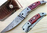 Pocket Knife Damascus Steel Blade and Bolsters