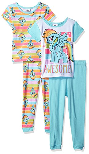My Little Pony Little Girls' Magical 4-Piece Cotton Pajama Set, Awesome Dash, 6 - Long Girls Pajamas