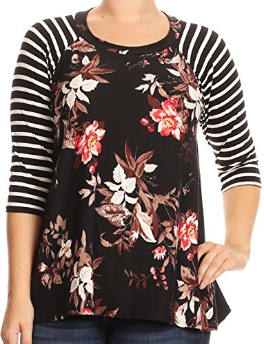 Casual Corner Clothes (BNY Corner Women Plus Size Striped Sleeve Floral Printed Jersey Tunic Knit Top Tee Black Brown 3XL B4991)