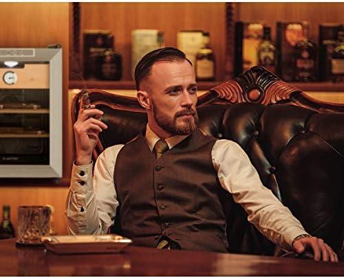 [Gesponsert]Klarstein EL Presidente 33 - Humidor, Zigarren-Aufbewahrung, Volumen 33 Liter, 500-3.360 Zigarren, 50 Watt, Temperatur: 12-23°C, Energieeffizienzklasse: C, LED, Touch, schwarz