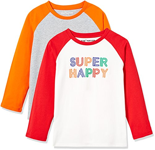 Kid Nation Kids' 2 Pack Raglan Long-Sleeve T-Shirt for Boys or Girls S White/Red+Heather Grey/Orange