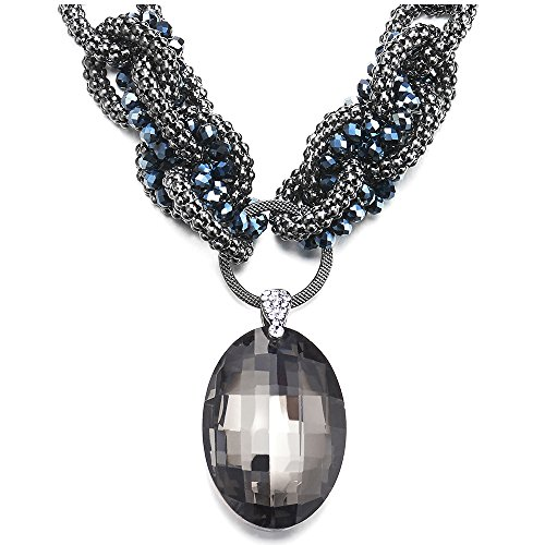 iMECTALII Multi-Layer Knotted Chains Collar Bib Party Necklace with Large Dangling Oval Crystal Pendant Dress