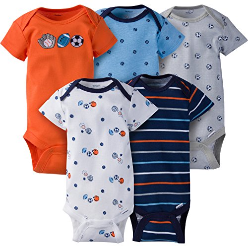 Gerber Baby Boys' 5-Pack Variety Onesies Bodysuits, Little Athlete, 0-3 Months -
