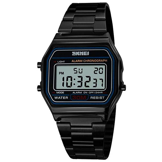 Reloj digital de moda con correa de acero/Reloj electrónico/Reloj de alarma de moda para hombre de Hipster para hombre: Amazon.es: Bricolaje y herramientas