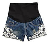 Hibukk Women's Cute Floral Lace Patchwork Denim Elastic Waist Maternity Shorts, Blue 6,Manufacturer(L)
