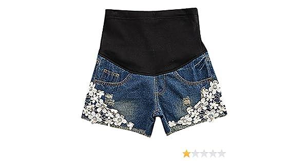 6de957d849e28 Hibukk Women's Cute Floral Lace Patchwork Denim Elastic Waist Maternity  Shorts at Amazon Women's Clothing store: