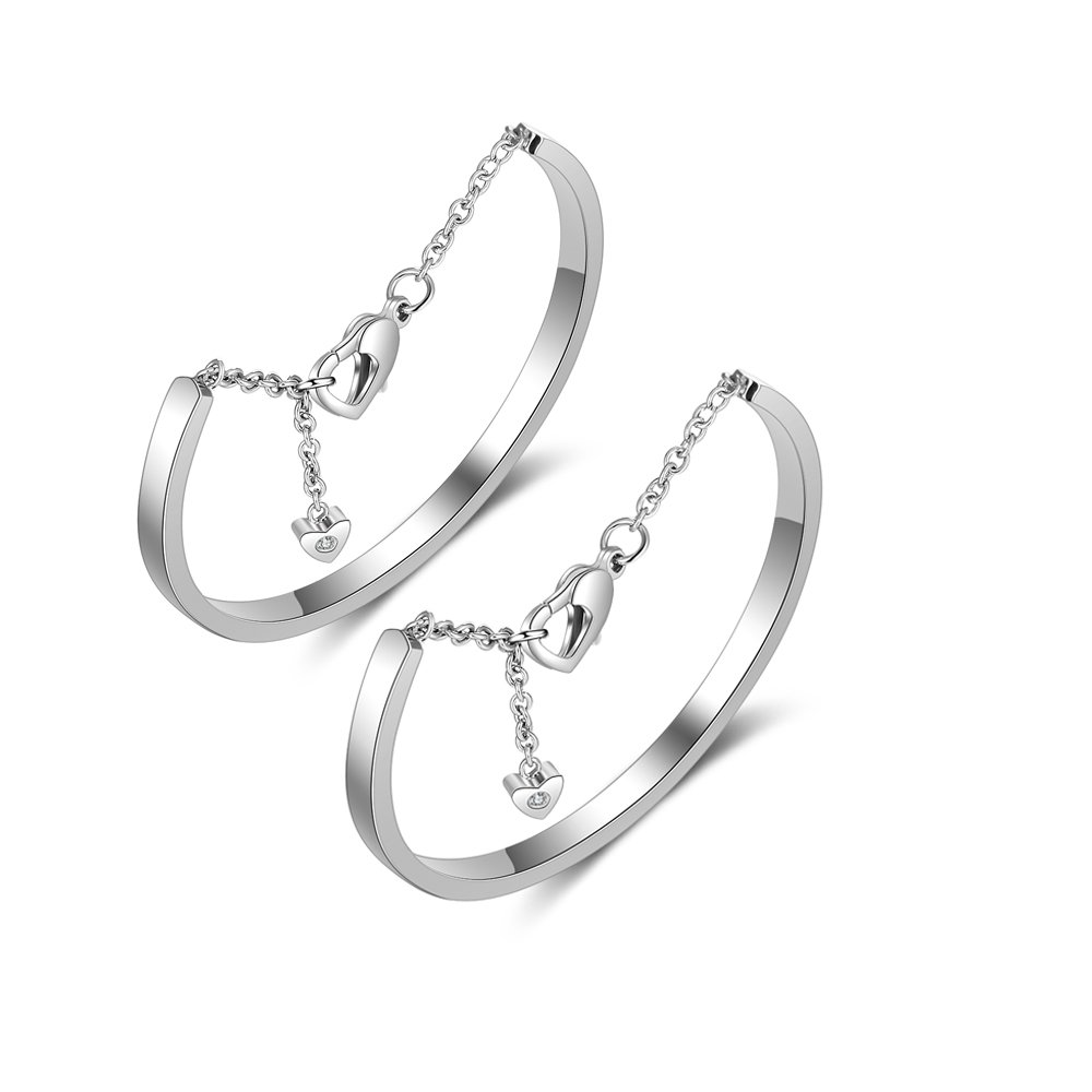 Personalized Womens Stainless Steel Bracelets with Names Love Cuff Bangle Bracelets Engraved for Friends (Silver+Silver)
