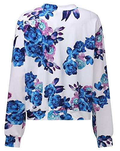 Tempo Lunga Cute Outwear Jacket Manica Libero Primaverile Autunno Giubbino Stampate Blau Zip Moda Leggero Sportivo Eleganti Chic Donna Outdoor qxP0nOff