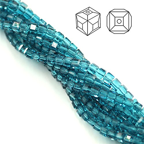 Calvas 300pcs/lot 3mm AAA Charms Crystal Cube Beads Faceted Glass Square Crafts Chunky Spacers for Jewelry Making DIY Bracelets - (Color: Hole Blue, Item Diameter: 3mm 300pcs)