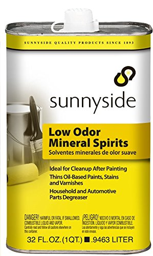 Sunnyside Mineral Spirits, Low Odor Paint Thinner, Cleaner and Degreaser, 32 Ounce, 12-Pack, 80332
