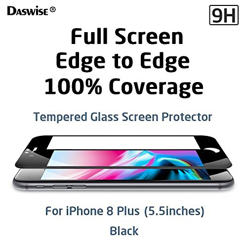 iPhone 8 Plus Screen Protector, Daswise 2017 100% Coverage 3D Curved Tempered Glass Screen Protector, Cover Edge-to-Edge, HD Clear, Shockproof, Easy Installation, for Apple iPhone 8 Plus (5.5 Black)