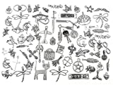 100 Grams Exceedingly Assorted Newest Fasion Punk Steampunk Charm Pendant Connector for DIY Necklace Bracelet Anklet Jewelry Making Findings(Antique Silver)