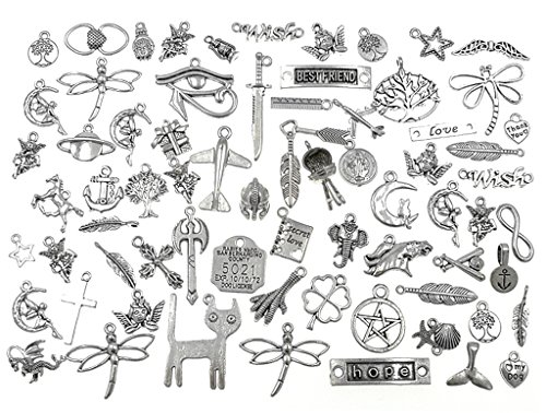 100 Grams Exceedingly Assorted Newest Fasion Punk Steampunk Charm Pendant Connector for DIY Necklace Bracelet Anklet Jewelry Making Findings(Antique Silver) -