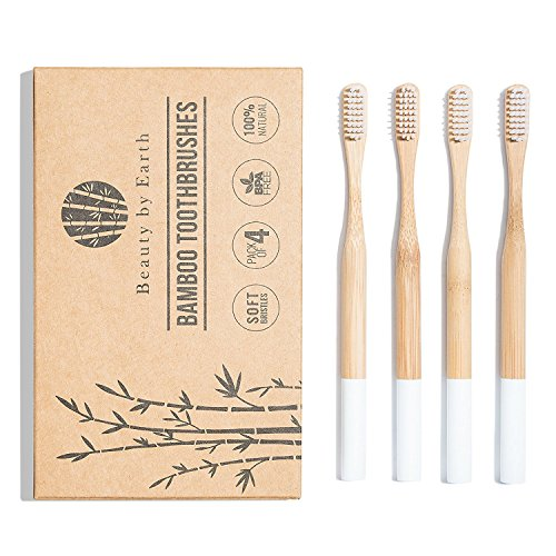 Natural Plant-Based Bamboo Toothbrush by Arashi Goods - Soft Bristles for Sensitive Teeth - Eco Friendly: BPA-Free, Recyclable & Biodegradable - Wooden Toothbrushes - White (Pack of 4 for ()