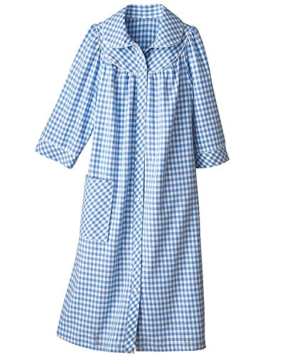 Flannel Duster (National Long Yarn-Dyed Flannel Check Duster, Blue,)