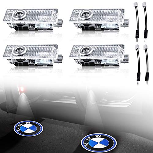 Car Door LED Logo Light Projector Ghost Shadow welcome Lights For BMW 3 5 6 7 Z GT Mini Series Symbol Emblem Courtesy Step Lights Kit Replacement(4-pack)