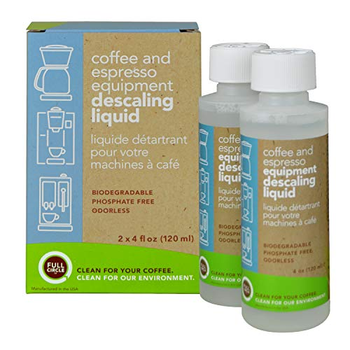 Full Circle Coffee and Espresso Descaling Liquid - 4 oz [ 2 Single Use Bottles ] - Safe On Keurig Delonghi Nespresso Ninja Hamilton Beach Mr Coffee Bruan and More ()
