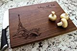 Paris City View Personalized Cutting Board - Engraved Cutting Board, Custom Cutting Board, Wedding Gift, Housewarming Gift, Anniversary Gift, Engagement W-047GB