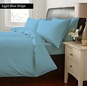 100% Egyptian Cotton Duvet Cover 300 Thread Count Stripe Full , Sky Blue Created By Linen Delux