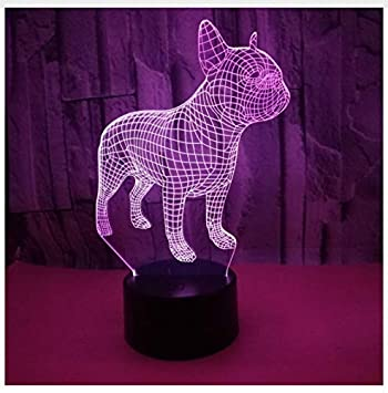 Amazon Com France Dog 7 Color Lamp 3d Visual Led Night Lights For