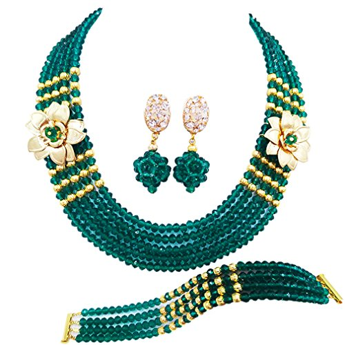 laanc 5 Rows African Beads Jewelry Set nigerian Wedding Beads Jewellery Sets(Army - Beads Necklace Tone Green Gold