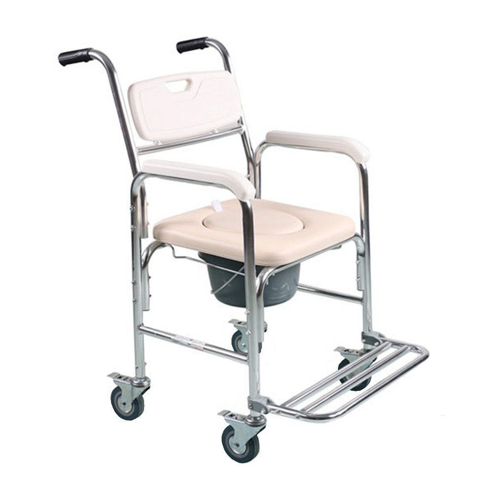 Tcare Multi-function Transport Wheelchair - Can be Used as Shower Chair, Padded Toilet Seat and Wheelchair, for Paralyzed Patients, Elderly and Pregnant Women