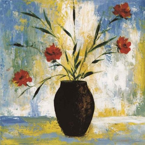 Oil Painting 'Red Flowers In The Vase' Printing On High Quality Polyster Canvas , 16x16 Inch / 41x41 Cm ,the Best Kitchen Gallery Art And Home Decoration And Gifts Is (Halloween Story 7th Grade)