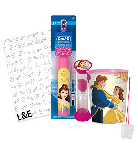 """Beauty and the Beast """"Princess Belle"""" 3pc Bright Smile Oral Hygiene Set! Turbo Powered Toothbrush, Brushing Timer & Mouthwash Rinse Cup! Plus Bonus """"Remember To Brush"""" Visual Aid & Gift Bag!!"""