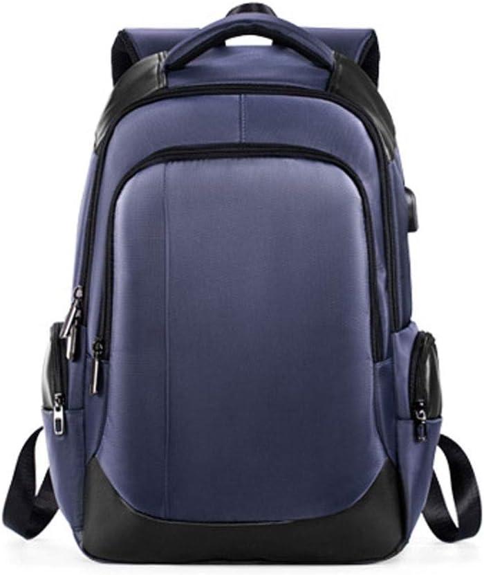 黒人格バックパック男性ウェアラブルUsb充電式屋外バックパックレジャービジネスオックスフォード布耐久性のある摩耗 絶妙 (色 : 青) 青
