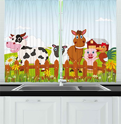 Animal Kitchen Curtains by Ambesonne, Cute Farm Creatures...