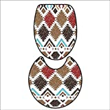 qianhehome Non-Slip Bathroom Toilet Mat Retro Grunge Maya Latin Mexican Animistic Motifs with Hippie Arrows Image for 2 Pieces Microfiber Soft 16''x19''-D24
