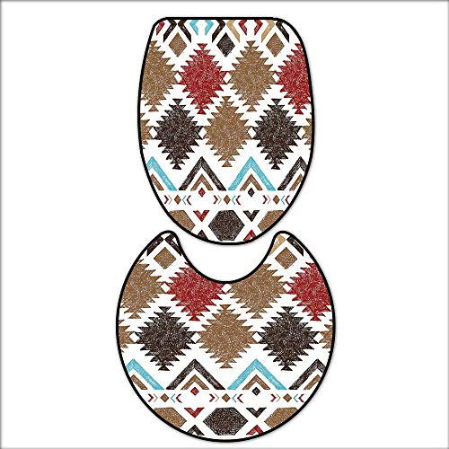qianhehome Non-Slip Bathroom Toilet Mat Retro Grunge Maya Latin Mexican Animistic Motifs with Hippie Arrows Image for 2 Pieces Microfiber Soft 16''x19''-D24 by qianhehome
