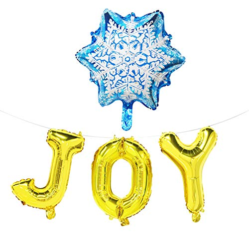 (Joy Balloon Banner with Snowflake - Christmas Party Decorations Rose Gold - Holiday Signs Decor Hanging - 16inch)