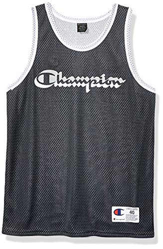 Champion LIFE Men's Reversible Mesh Tank Top, Black/Silverstone, Medium