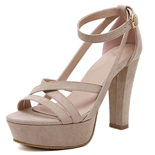 Lovely Sandalias De Mujer Plataformas Tacón Grueso Hebilla Moda Vestido a4b0e131531f