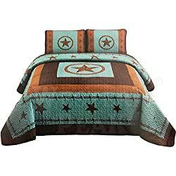 Western Peak 3 Piece Western Texas Lone Star Cabin Lodge Barb Wire Luxury Quilt Bedspread Coverlet Comforter Turquoise Brown Set (Oversized King)