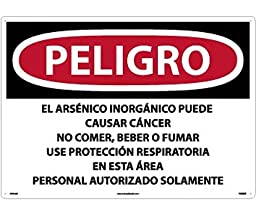 National Marker SPD32RD Peligro Inorganic Arsenic May Cause Cancer Do Not Eat, Drink Or Smoke Wear Respiratory Protection In This Area(Spanish), 20\