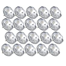 BQLZR 25mm Dia Clear Crystal Diamante Round Buttons Tufting Sofa Upholstery Headboard Pack of 20
