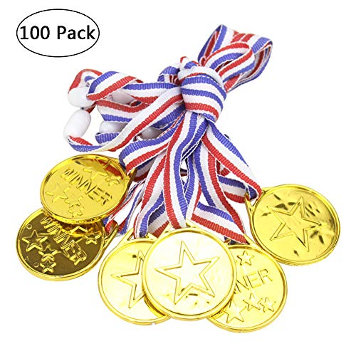 (Medals and Awards, Yuccer 100 PCS Gold Plastic Medals for Kids Winner Medals Award Medals with Neck Ribbons)